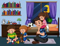 Daddy and three kids in bedroom at night. Illustration Royalty Free Stock Photography