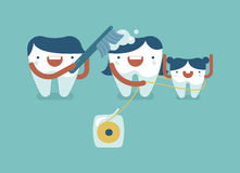 Daddy tooth is bushing Mommy and she is cleaning by dental floss Royalty Free Stock Images