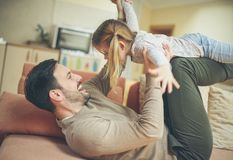 Daddy you are really silly. royalty free stock image