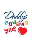 Daddys Little Sweet Heart T-shirt. Illustration for a T-shirt showing parents affection Stock Image