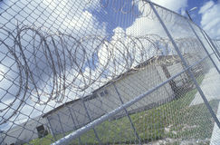 Dade County Men's Correctional Facility. Barbed wire fence at Dade County Men's Correctional Facility, FL Stock Image