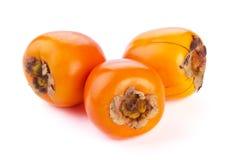 Dadelpruimfruit op witte achtergrond Stock Foto's