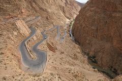 Dades Gorge. Road to the mountain pass in the Dades Gorges. Dades Gorge is a gorge of the Dadès River and lies between the Atlas Mountains and Anti-Atlas Royalty Free Stock Images
