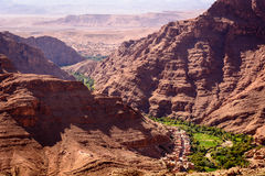 Dades oasis, Dades Gorge, Morocco. Photo from a hill overlooking the Dades oasis. Dades Gorge, Morocco Royalty Free Stock Photography