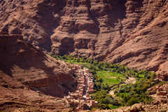 Dades oasis, Dades Gorge, Morocco. Photo from a hill overlooking the Dades oasis. Dades Gorge, Morocco Stock Photos