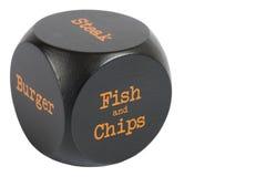 Dadi asportabili. Pesce & patate fritte Fotografie Stock
