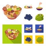 Dadi assortiti, frutti e l'altro alimento Icone stabilite della raccolta dell'alimento nel fumetto, illustrazione piana delle azi Immagini Stock Libere da Diritti