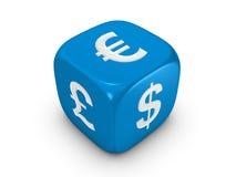 Dadi blu con il segno curreny Immagine Stock Libera da Diritti