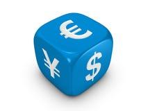 Dadi blu con il segno curreny Fotografie Stock