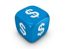 Dadi blu con il segno del dollaro Fotografie Stock Libere da Diritti