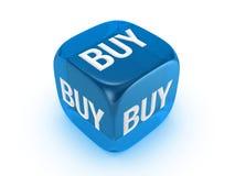 Dadi blu traslucidi con il segno del buy Immagine Stock