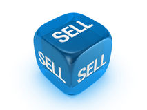 Dadi blu traslucidi con il segno di vendita Fotografie Stock Libere da Diritti