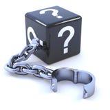 dadi del punto interrogativo 3d su un dispositivo d'ancoraggio Fotografia Stock Libera da Diritti