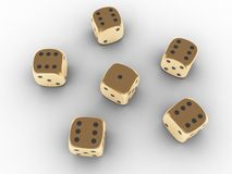 Dadi di gioco dorati Fotografia Stock Libera da Diritti