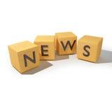 Dadi di legno con le notizie Immagine Stock Libera da Diritti