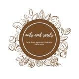 Dadi e semi di progettazione dell'etichetta di vettore in composizione nel cerchio royalty illustrazione gratis