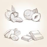 Dadi ed illustrazioni del cioccolato Fotografia Stock Libera da Diritti