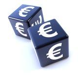 dadi neri 3d due segnati con l'euro simbolo di valuta Fotografia Stock Libera da Diritti