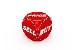 Dadi rossi con il buy, vendita, parole di prezzi. Immagine Stock