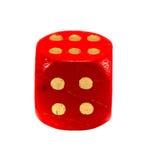 Dadi rossi di gioco isolati su bianco. Puntini dell'oro Fotografia Stock Libera da Diritti
