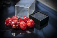 Dadi rossi di RPG Fotografia Stock