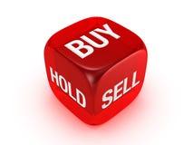 Dadi rossi traslucidi con il buy, vendita, segno della stretta Immagini Stock