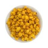 Dadi tostati del cereale in una piccola ciotola Fotografie Stock