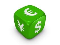 Dadi verdi con il segno curreny Immagini Stock
