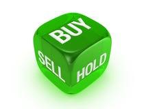 Dadi verdi traslucidi con il buy, vendita, segno della stretta Fotografie Stock Libere da Diritti