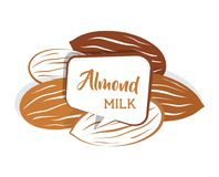 Dado crudo della mandorla messo in vario colore latte della mandorla nel fumetto Illustrazione piana di vettore di stile Immagine Stock Libera da Diritti