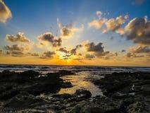Dado Zamir Beach bei Sonnenuntergang Lizenzfreies Stockfoto