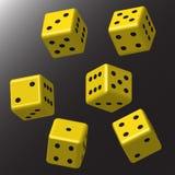 Dados amarelos com pontos pretos Imagem de Stock Royalty Free