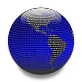 Dados através do globo Imagens de Stock Royalty Free