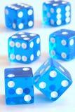 Dados azules de equilibrio Fotografía de archivo libre de regalías