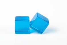 Dados azules transparentes Imágenes de archivo libres de regalías