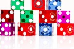 Dados coloridos del juego de Las Vegas Foto de archivo libre de regalías