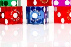 Dados coloridos del juego de Las Vegas Imagen de archivo libre de regalías