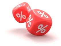 Dados com sinal de por cento Foto de Stock Royalty Free
