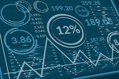 Dados comerciais na tela dos pixéis Opinião de perspectiva do monitor do computador ou da tabela da informação com gráficos, cart foto de stock royalty free