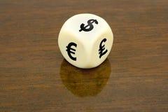 Dados (dólar, euro, libra) Foto de archivo libre de regalías