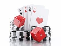 dados 3d, cartões e microplaquetas Conceito do CASINO Backgro branco isolado Imagem de Stock Royalty Free