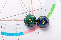 Dados da astrologia com s?mbolo do zod?aco de Gemini May 21 - 20 de junho e de seu planeta de ordena??o Mercury imagem de stock
