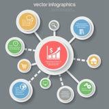 Dados da finança do negócio horizontalmente infographic: ícones conectados Fotografia de Stock Royalty Free