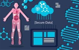 Dados da pesquisa do ADN que armazenam no laboratório ilustração stock