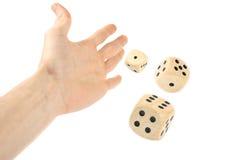 Dados de jogo da mão Fotos de Stock Royalty Free