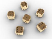 Dados de jogo dourados Fotografia de Stock Royalty Free