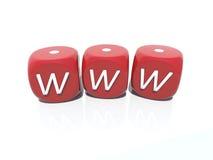 Dados de juego del casino plástico rojo de WWW Fotografía de archivo libre de regalías