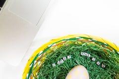 Dados de la decoración del escritorio de Pascua Foto de archivo