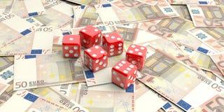 dados de la representación 3d en 50 billetes de banco de los euros Foto de archivo libre de regalías
