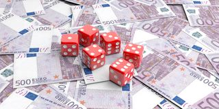 dados de la representación 3d en 500 billetes de banco de los euros Imagenes de archivo